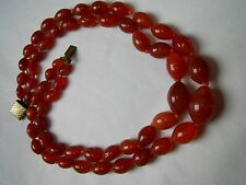 GENUINE VINTAGE 2 STRAND GRADED CORNELIAN GEMSTONE BEAD NECKLACE 136g