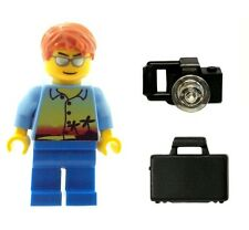 LEGO Male Beach Holiday Boy Minifigure with Suitcase and Camera NEW Town City