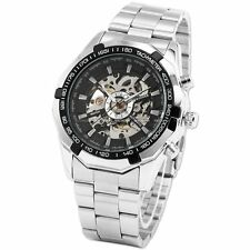 Men's Skeleton Dial Stainless Steel Self-Wind Up Mechanical Automatic Watch