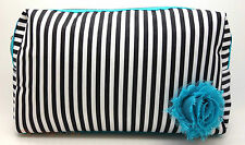 Lancome Signature Black and White Stripes Cosmetic Makeup Travel Bag