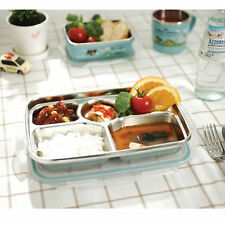 Stainless Steel Food Snack Tray Airtight Lid Hygienic Bento Side Trays for KIDS