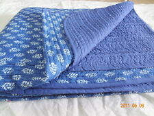 blue Color Cotton Kantha Quilt Hand Block Print Bed Cover Throw Indian Blanket