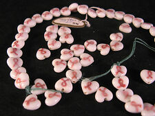Pink Ribbon Heart Shape Breast Cancer Awareness Lampwork Glass Bead Lot 60