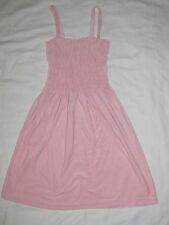 Womens Pink Terry Cloth Tank Top Ruffled Dress Swim Suit Cover Up Size Medium