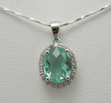 BRILLANTE PENDENTE AMETISTA VERDE COLOR DIAMANTI ARGENTO 925 CATENA