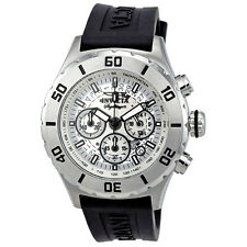 Invicta Signature II Chronograph Silver Dial Black Rubber Strap Mens Watch 7376