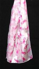 SCARF Long Pink & Ivory Pink Ribbon On Off White BREAST CANCER LOGO