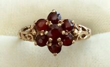 Beautiful Quality Ladies Early Vintage 9Ct Gold Garnet Cluster Ring - So Pretty