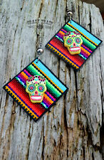 Crazy Train Serape Sugar Skull Earrings Southwest