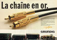 Publicité 1990  (Double page)  GRUNDIG fiches Cinch de la chaine Fine Arts