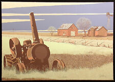 """Don Gant """"South 40"""" Hand Signed Serigraph of a farm, barns and tractor, OBO"""