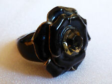 Silver Tone Black Enamel Clear Crystal Flower Fashion Ring sz 9.25