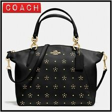 COACH  All Over Stud Small Kelsey Satchel Purse in Calf Leather  Black  F36670