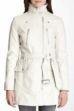 Kenneth Cole Reaction Ivory Faux-Leather Motorcycle Trench Coat, S - MSRP $180