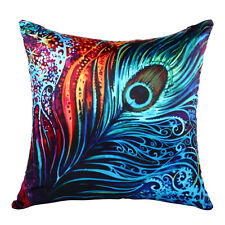 Vintage Peacock Feather Flocking Pillow Case Home Sofa Decor Cushion Cover GN