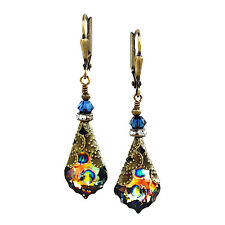 Peacock Baroque with Swarovski Elements Crystal Dangle Earrings