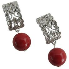 Good Collection Of Gift Red Pearl Drop Diamante Earrings Passion Jewelry