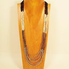 """32"""" Black Silver Color Block Waterfall  Silver Bead Handmade Seed Bead Necklace"""