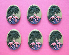 6 Unset 3/D PINK FLAMINGOS & PALM TREES 25mm x 18mm Costume Jewelry Craft CAMEOS