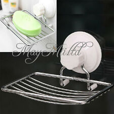 Strong Suction Wall Soap Holder Bathroom Shower Cup Stainless Dish Basket Tray O