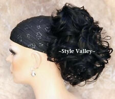 Black Short Wavy/Curly Ponytail Hairpiece Extension Claiw Clip in Hair Piece
