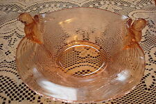Pink Glass candy dish / bowl decorated with birds, beautiful design