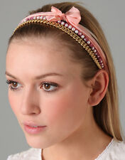 NEW Juicy Couture Headband 4 Layer Silk Ribbons Gold Link Chain Faux Pearls