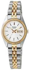 Ladies Pulsar Oval Gold and Silver Stainless Silver Dial Numbers Watch PRW031X
