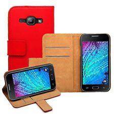 Portefeuille en cuir rouge membrane brand case pour téléphone mobile Samsung Galaxy J1