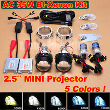 "New 2.5"" Bi-Xenon HID Projector Kit Lens Car Headlights Retrofit Shroud AC 35W"