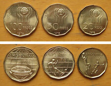 Argentina Coins Set of 3 Pieces 1978 Football UNC