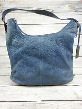 VINCE CAMUTO Blue Pebble Leather Hobo Shoulder Bag Zipper Expand