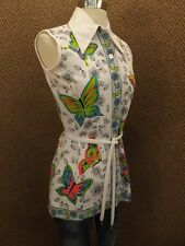 Vtg New NOS Totally 60s Butterfly Daisy Belted Sleeveless Tunic Top S Hippy Cool