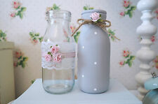 Vintage Shabby Chic Set of 2 Decorated Glass Milk Bottles Grey Rose Lace Dot Bow