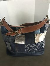 Authentic Coach Monogram Jacquard Patchwork Suede Khaki Hobo Shoulder Bag