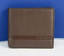 NWT COACH Men's CMD Pebble Leather Double Billfold Wallet in Mahcgany  F74279