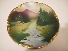 Ornate Altwasser CT Silesia Germany Hand Painted Mountain View Wall Plaque