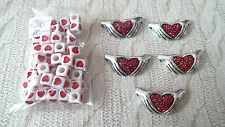 red hearts bundle 5 necklace or bracelet Connectors 50 cube square Beads * fast
