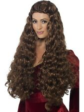 Quality Womens Medieval Princess Long Wavy Wig Queen Brunette Gothic Fancy Dress