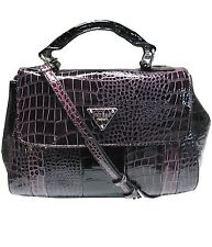 NWT Guess Handbag Satchel Plum Purple PA645519 Faux Croc Leather Purse MSRP $148