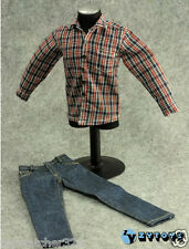 1/6 Action Figure Accessories-ZY Navy/Red/White Shirt + Blue Jeans Set