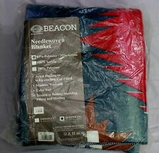 VTG Beacon Blanket USA Made Acrylic  Queen Needle Wooven Green Red Brown Native