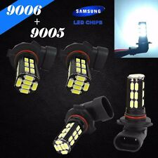 Combo 9006-HB4 9005-HB3 Samsung LED 30 SMD White Headlight Bulbs High Low Beam