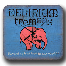 DELIRIUM TREMENS LAGER BEER VINTAGE RETRO PUB BAR METAL TIN SIGN WALL CLOCK