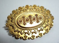 Victorian Antique 15ct 15k Oval Gold Wirework Brooch Pin