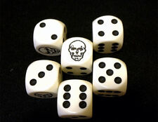 Six Custom Skull Six-Sided Game Dice (D6) for RPGs, D&D and other Tabletop Games