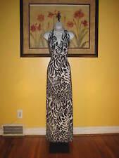 NWT Cache $128  Black/White/Gray Leopard Print Maxi Dress Size XS