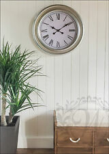 Silver Wall Clock French Vintage Industrial Rustic Roman Numeral Large 60cm