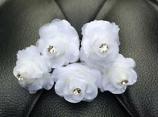 5 Bridal Wedding White Rose Flower And Clear  Diamond Hair Pins Clips handmade
