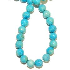 GR540f-2 2-Strand Turquoise Blue 4mm Round Gemstone Coral Fossil Riverstone Bead